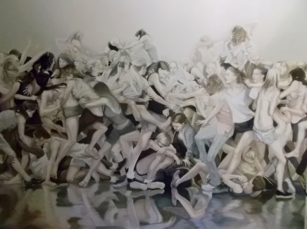 Grace O'Connor, Girl Fight, 2014, Oil on linen. 152 x 152 cm.
