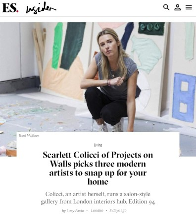 Scarlett Colicci of Projects on Walls picks three modern artists to snap up for your home