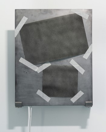 Feng Chen, S-2, 2016 aluminum plate, Arches watercolour paper, thermal ink, peltier, heating element, cooling fans, arduino, 50 x 40 x 13 cm