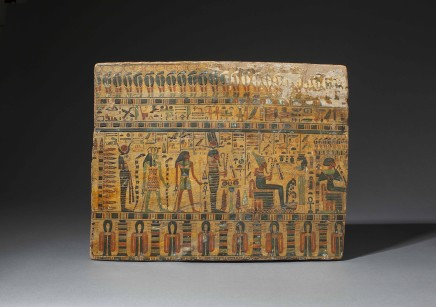 An Egyptian wooden sarcophagus panel for Hesimut