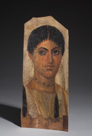Egyptian panel portrait of a young woman er-Rubayat, Fayum, Roman-Egyptian Period, 1st half of the 2nd century AD Wood and tempera Height 33.5 cm, width 14 cm