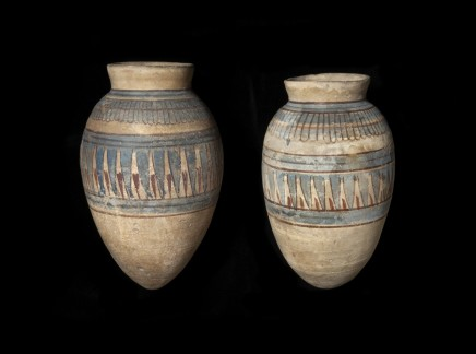 Two Egyptian blue-painted piriform jars, Malqata, New Kingdom, 18th Dynasty, reign of Amenhotep III, c.1390-1353 BC
