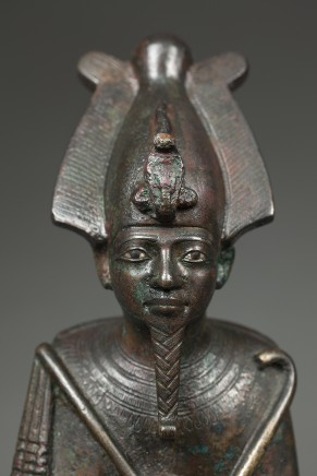 Egyptian bronze Osiris with inlaid eyes, Late Dynastic Period, 26th Dynasty, c.600 BC