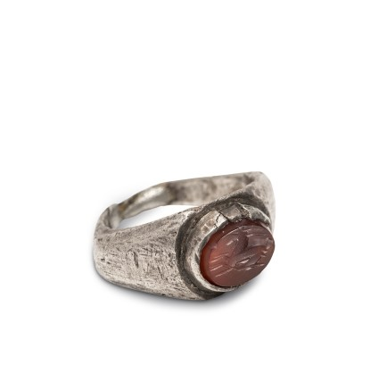 Roman ring with intaglio showing goat, 3rd century AD