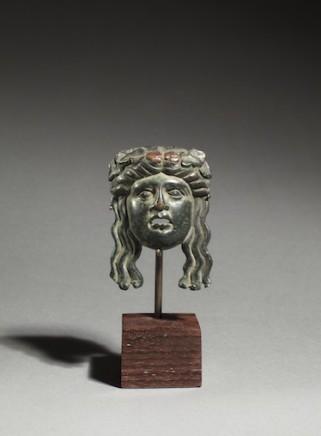 Roman bronze Bacchic mask, c.1st century AD