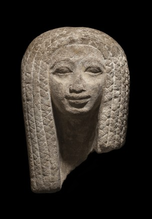 Egyptian sandstone female head from a pair statue, New Kingdom, 18th Dynasty, c.1550-1352 BC