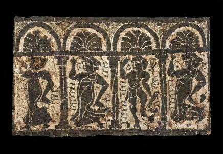 Coptic linen tunic fragment showing bacchanalia, Byzantine period, c.4th century AD