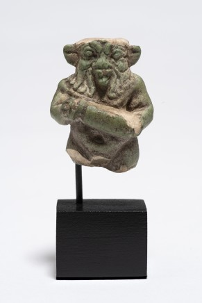 Egyptian fragmentary faience Bes figure, Late Dynastic Period-Ptolemaic Period, c.747-30 BC