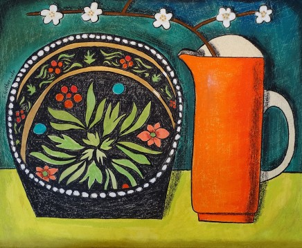 Susan Gathercole, Burnt Orange Jug and Folk Dish
