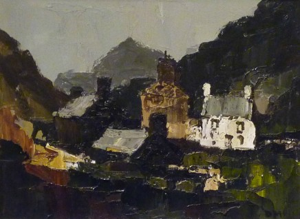 Donald McIntyre, Snowdonia Cottages with Mountains beyond, c1960