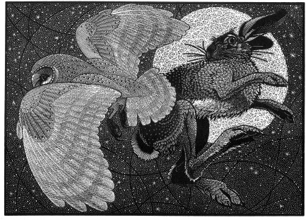 Colin See-Paynton, Nocturnal Encounters - Barn Owl and Hare £350