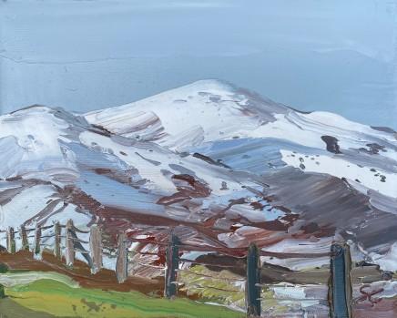 Sarah Carvell, Snow above Hiraethog, Grassy Verge