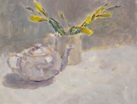 Lynne Cartlidge, Daffodils in Bud with White Teapot