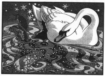 Colin See-Paynton, Nocturnal Encounters - Swan and Otters £350