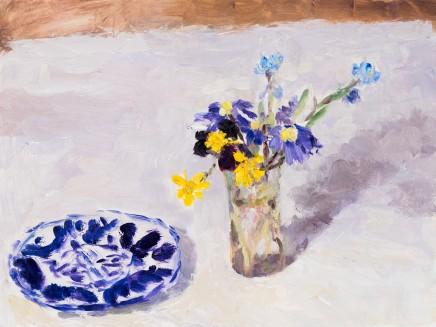 Lynne Cartlidge, Blue Patterned Plate and Celandines