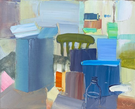 Sarah Carvell, Spring Breakfast with Cereal Boxes and Milk Bottle