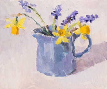 Lynne Cartlidge, Spring Flowers in a Blue Jug IV