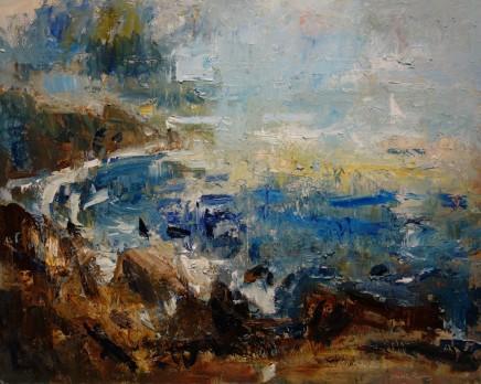 Gareth Parry, Sea Cliffs and Distant Yacht, Llŷn, / Creigiau, Môr a Cwch Hwylid, Llŷn