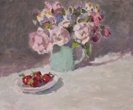 Lynne Cartlidge, Roses in a Blue Jug with Strawberries