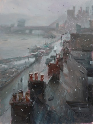 Rob Pointon, Snow Flurries over Conwy Quayside