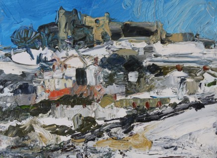 Sarah Carvell, Denbigh Castle, Snow and Blue Sky