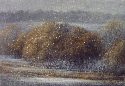Gerald Dewsbury, Willows with Snow Falling
