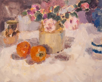 Lynne Cartlidge, Roses and Persimmons Still Life