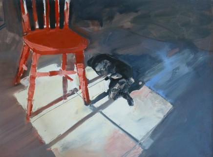 Sarah Carvell, Basil y ci, Cadair Coch / Basil the Dog with Red Chair