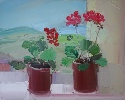 Sarah Carvell, Geranium Pots with view of the Hills