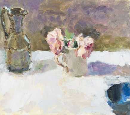 Lynne Cartlidge, Roses and a Green Jug in Morning Light