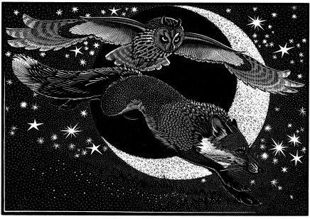 Colin See-Paynton, Nocturnal Encounters - Fox and Long-eared Owl £350