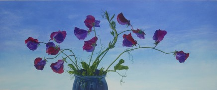Kim Dewsbury, Sweet Peas in a Blue Pot