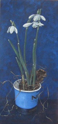 Kim Dewsbury, Snowdrops in a Blue Paper Cup