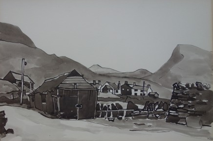 Kyffin Williams, Caenarfon Mountain Village, Cesarea, c1990s