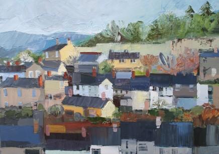 Sarah Carvell, Golygfa o Ddinbych a Waliau'r Castell / Denbigh View with Castle Walls