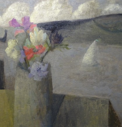 Nicholas Turner RWA Flowers and Harbour Oil on board 30.5 x 30.5 cm