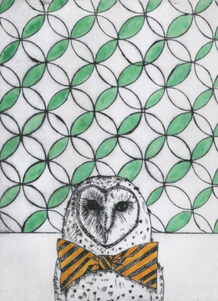 Devi Singh Owl Etching and Hand Colouring Edition of 14 20 x 15 cm
