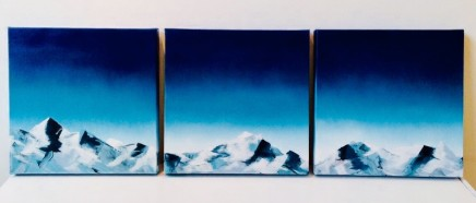 Kayleigh Marshall Mountain Triptych Spray paint & Emulsion on canvas 30 x 30 x 4 cm £400 each