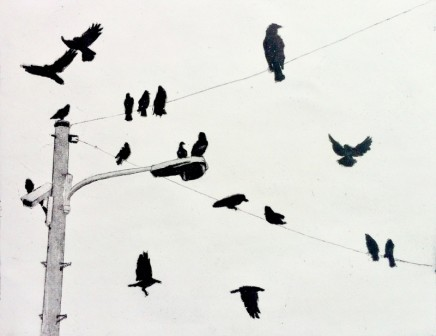 Christopher Gray Sitting Crows Etching 25 x 30 cm