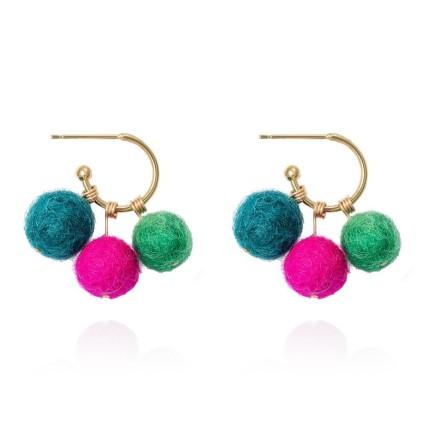 Gems Minka Peruvian Pompom Earrings 18kt Gold Plated Earrings Felt Pompoms 6 cm x 6 cm