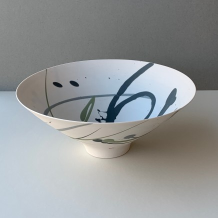 Ali Tomlin `Bowl - Green and Grey Splash Porcelain AT15