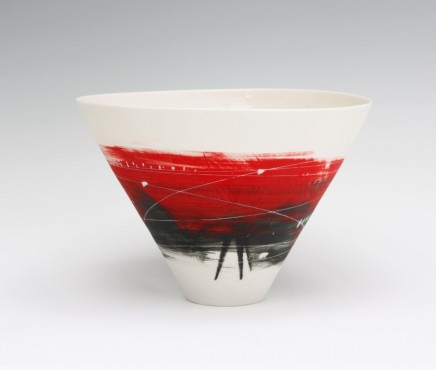 Ali Tomlin V Bowl. Red Black Porcelain