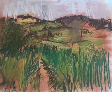 Lara Stafford-Deitsch Chew Valley Chalk and Pastel on ivorex board 21.1 x 25.4 cm
