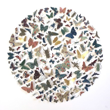 Helen Ward Radius in Blue and Red Victorian hand-marbled papers, gold leaf, enamel pins 80 x 80 cm