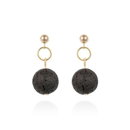Gems Minka Guatemalan Volcanic Lava Earrings Black volcanic lava bead and gold drop earrings 9kt yellow gold