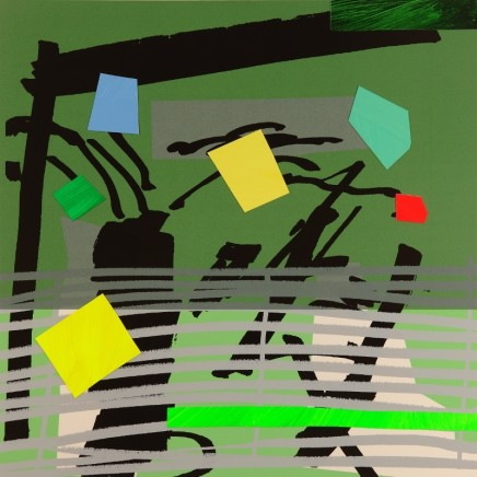 Bruce McLean Grey Grow Green Signed limited edition hand-cut and painted collaged Published 2015, edition of 75 Framed: £900 Image size: 54 x 54.5 cm Paper size: 73 x 74 cm