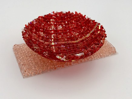 Cathryn Shilling Mini: Sunset Coral/Light Coral Orange on Light Coral Orange Base, 2020 Kiln formed glass with Dichroic bowl on a Kiln formed glass base Bowls: 3 x 10.5 cm Base: 6 x 13 x 0.5 cm