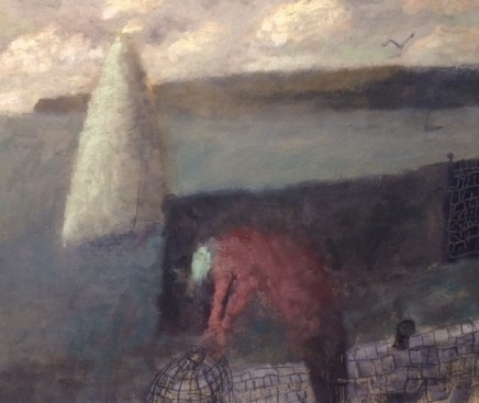 Nicholas Turner RWA Fisherman, Sail and Creel Oil on board 25.5 x 30.5 cm