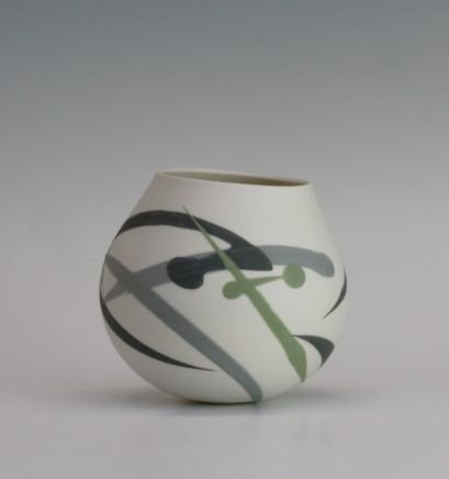 Ali Tomlin  Weeble - Green and grey splash  Porcelain