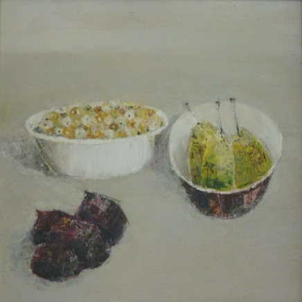 Marilyn Browning Pears figs and berries Oil on canvas 40 x 40 cm